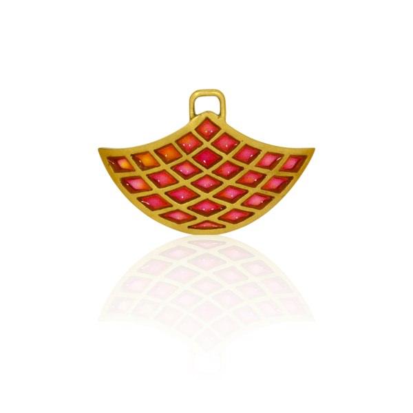 Einhänger Gelbgold Emaille rot (251023)