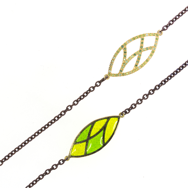 Collier Fairtrade Gelbgold Emaille grün Brillanten (251195)