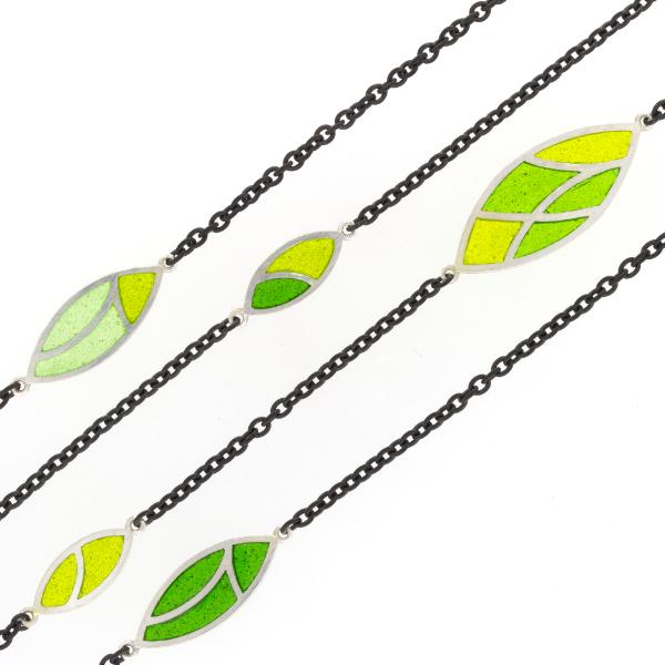 Collier Silber Emaille grün (251210)
